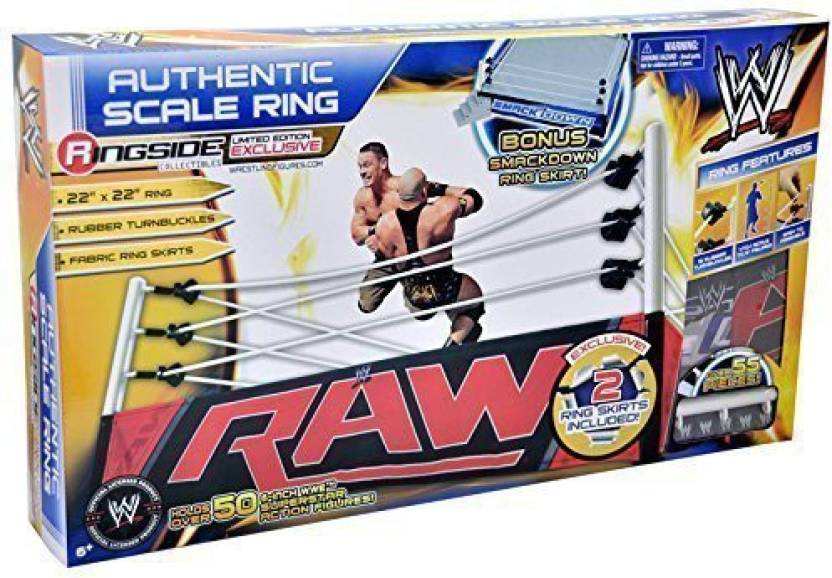 4f7aa2f264383 Wicked Cool Toys Wwe Authentic Scale Ring W Raw & Smackdown Ring Skirts  Ringside Collectibles Exclusive Toy Wrestling Action Figure Ring Playset By  Parallel ...
