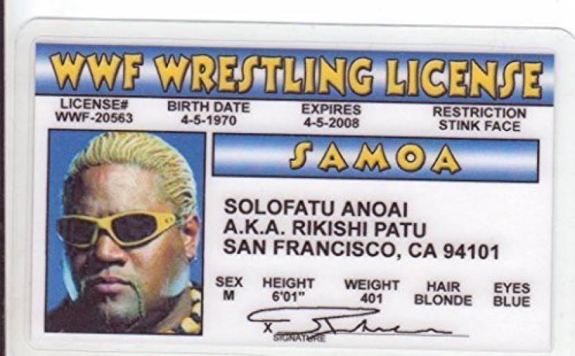 Signs4Fun Solofatu Anoai Aka Rikishi Patu Novelty Drivers License