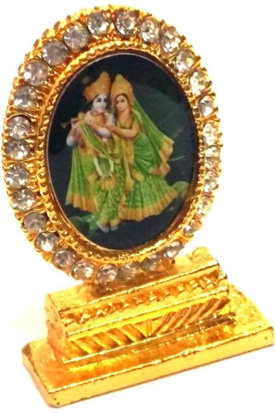780f916d4aea AIR9999 SHRI RADHA KRISHAN JI Statue Golden Finished With Jerkin Diamonds  For Your Car Decorative Showpiece - 0 cm (Iron