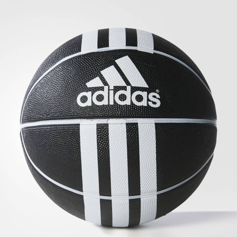d95123712bad ADIDAS 3-STRIPES RUBBER X Black   White Basketball - Size  7 (Pack of 1
