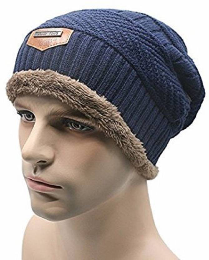 0b9b481e40c HANDCUFFS Imported Fancy beautiful woolen expandable very soft beanie cap  with muffler for Men Women - Bluie color Cap