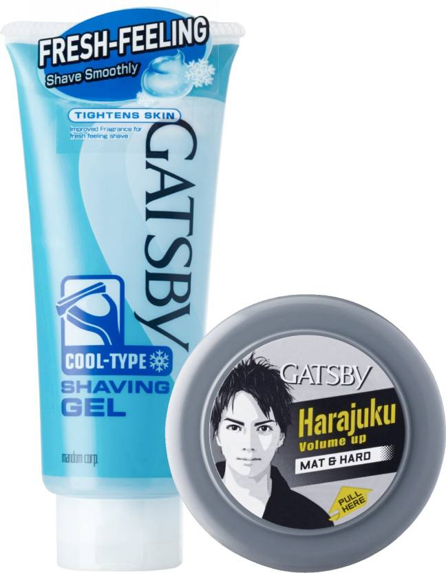 Gatsby Shaving Gel Cool Type 205g with Hair Styling Wax Mat & Hard 75g Combo