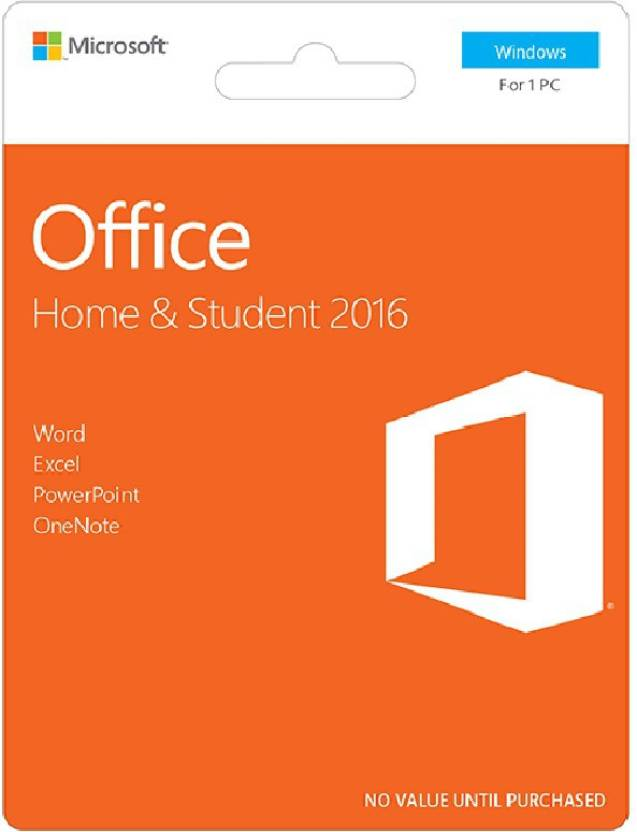 Microsoft Office Home & Student 2016- 1 PC (No DVD, Only Activation Card)
