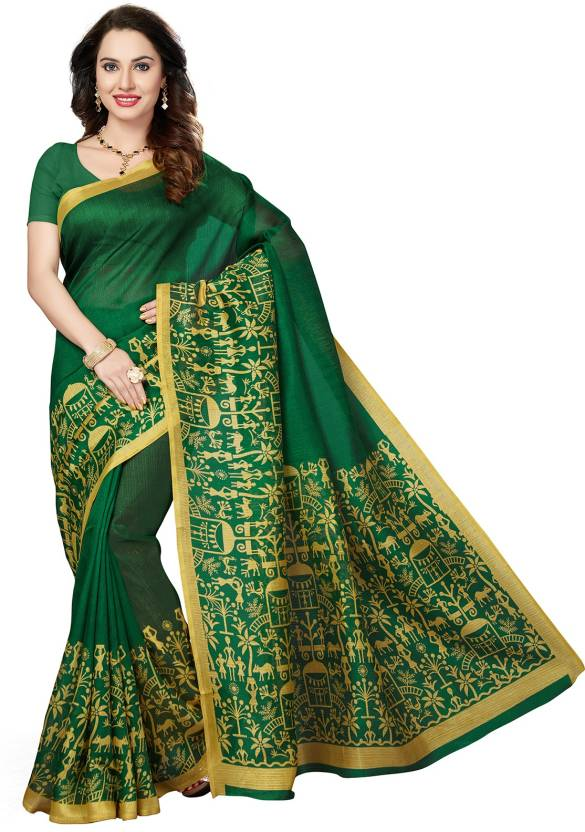 801b8e7b6d6 Buy Ishin Printed Bhagalpuri Art Silk Green Sarees Online   Best ...