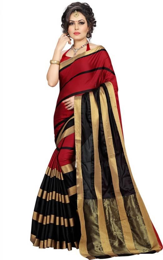 0c7b079b34 Buy Dream Beauty Fashion Striped Assam Silk Cotton Silk Red Sarees ...