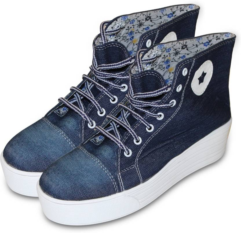 8957878b2697 DDO New Denim Canvas Shoes Platform Shoes Increased In The High-Top  Heavy-Bottomed Casuals For Women (Blue)