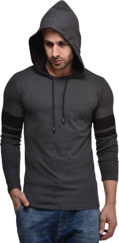 Kay Dee Solid Mens Hooded Grey T-Shirt