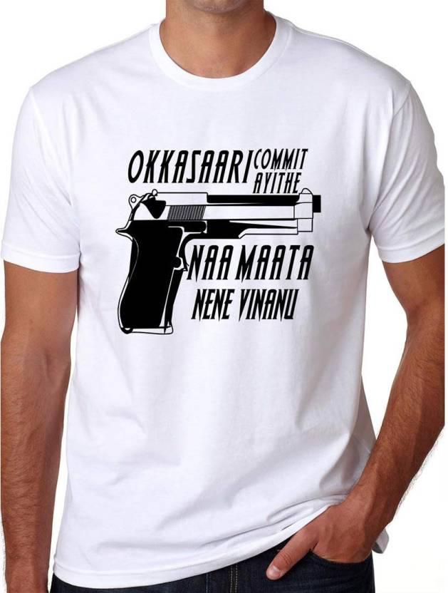 Crazy Punch Printed Men's Round Neck White T-Shirt - Buy