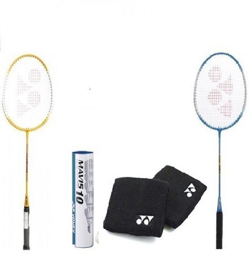Yonex Set of 2 Yonex GR 303 Badminton Racquet+free+Mavis 200 I Shuttle ket