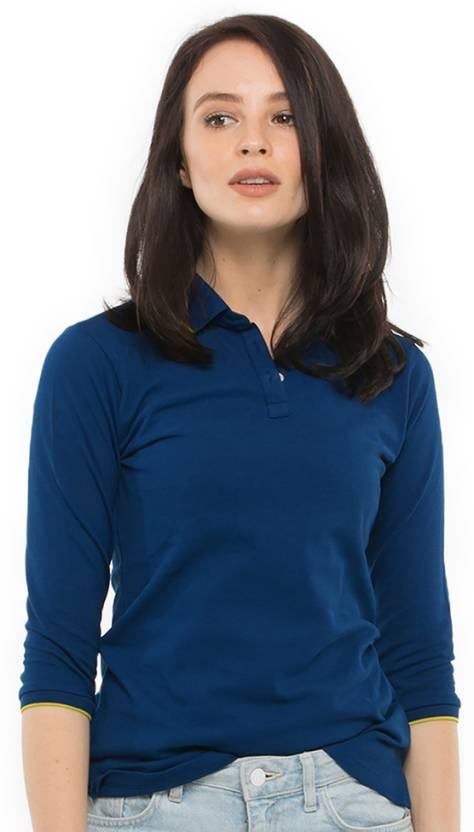 Bewakoof Solid Women's Polo Neck Blue T-Shirt - Buy Bewakoof