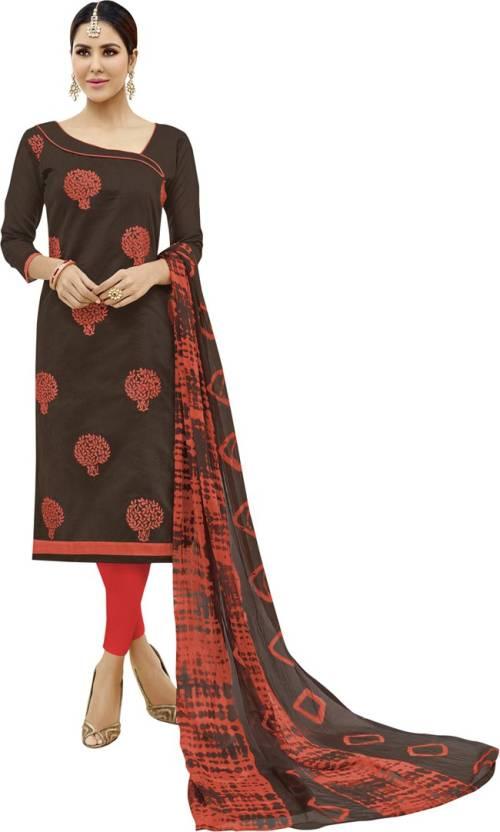 59ec340e32 Maroosh Chanderi Cotton Embroidered Semi-stitched Salwar Suit ...