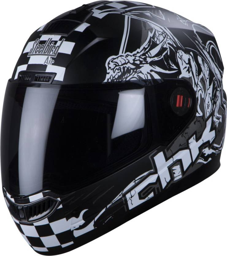 1f760d4f8 Steelbird AIR SBA-1 CHECK GLOSSY BLACK FULL FACE Helmet Motorbike Helmet ( Black)