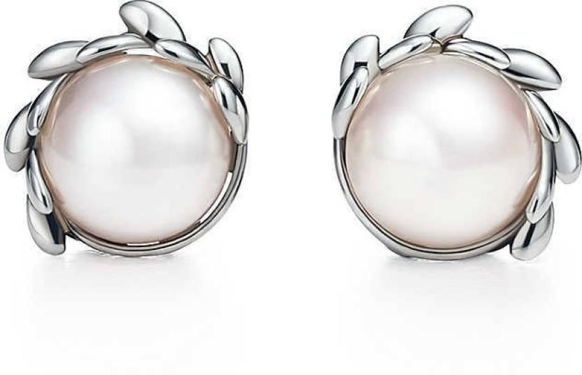 Karat Square Designer White Gold 14kt Pearl Stud Earring