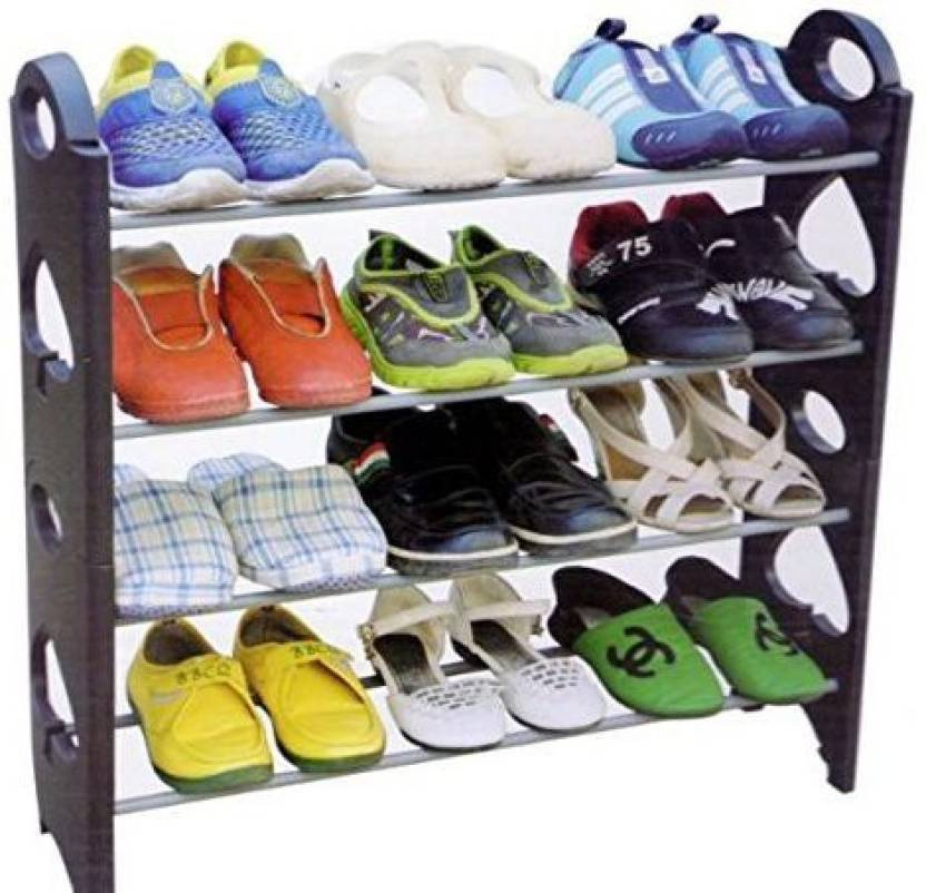 SSS Plastic Collapsible Shoe Stand Black, 4 Shelves
