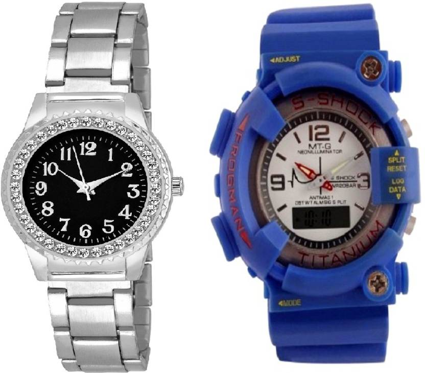 a3914109e COSMIC blue s shock stylish digital men watch with diamond studded tiny  dial stainless steel fancy