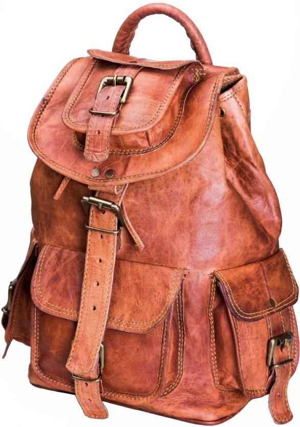 b42176717165 Urban Leather Handmade Vintage Style Travel Camping Trekking Hiking Bag  Backpack Cabin Bag For Boys Girls Men Women Unisex Backpack (Brown