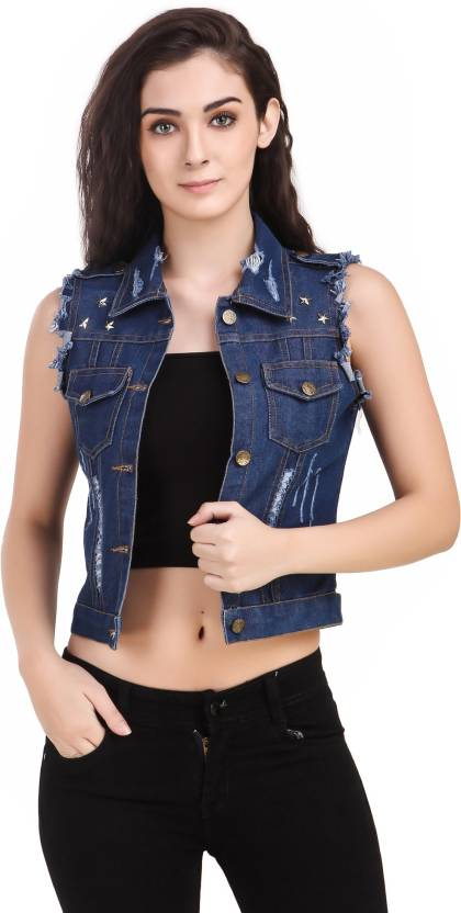 2bf093f290fe0b Clo Clu Sleeveless Solid Women Denim Jacket - Buy Clo Clu Sleeveless Solid  Women Denim Jacket Online at Best Prices in India
