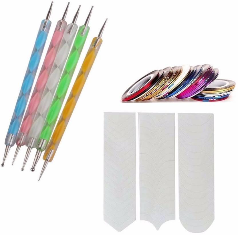 Siempre21 Gugzy Nail Art Combo 5pc Nail Art Pen Set,10 pc Stripping ...