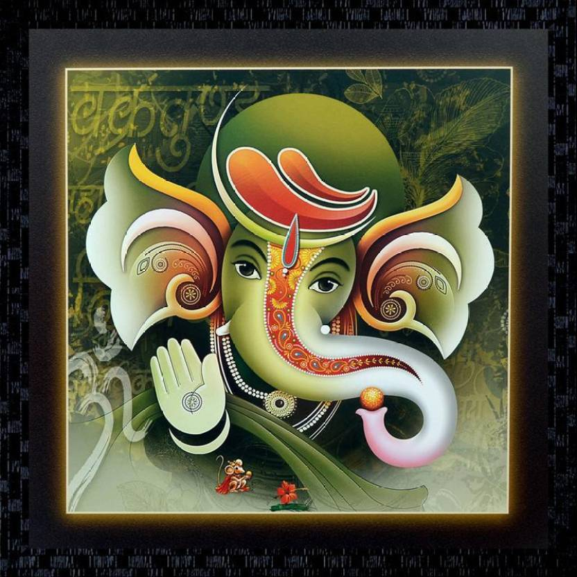 Janki Ganesh Ji Fiber Glass Wall Painting Canvas 14 Inch X 14 Inch