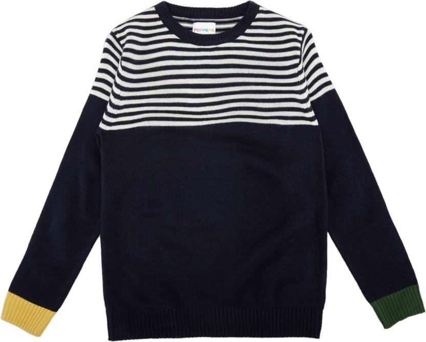 07dd9041ea1 Poppers by Pantaloons Striped Round Neck Casual Boy's Dark Blue ...