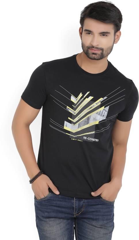 4489fd7fde Van Heusen Sport Printed Men's Round Neck Black T-Shirt - Buy Blue Van  Heusen Sport Printed Men's Round Neck Black T-Shirt Online at Best Prices  in India ...
