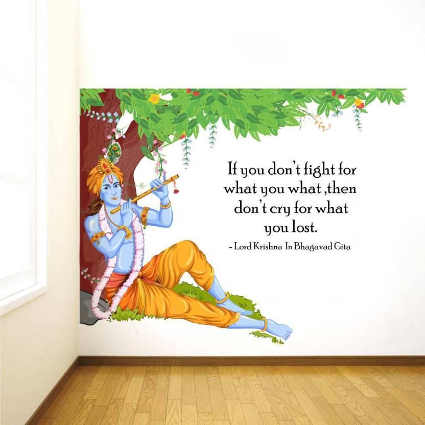 73ab6ae0ba Rawpockets Lord Krishna Flute Bhagavad Gita Quote (90 cm X cm 120,  Multicolor)