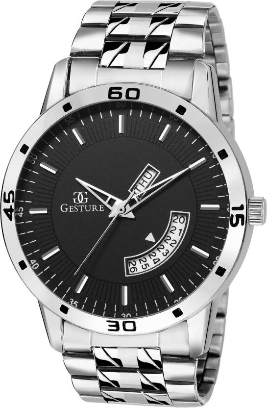 Gesture 95- BK- DD- CH DAY And DATE Watch - For Men