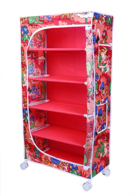 Little One S 5 Shelves Jungle Red Powder Coated Strong Sy Carbon Steel Collapsible Wardrobe Finish Color