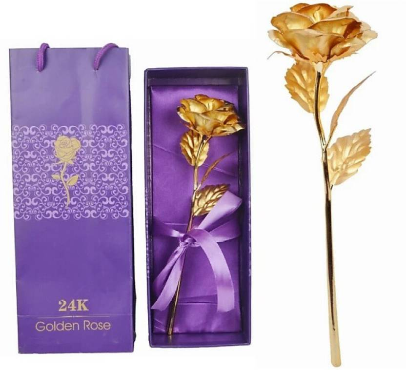 Touch India 24 K Gold Rose With Gift Box And Carry Bag Message Bottle Valentine