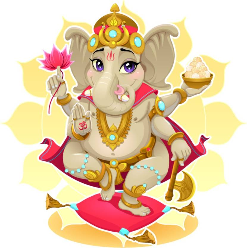 Fantaboy Colorful Cartoon Ganesha For Wall