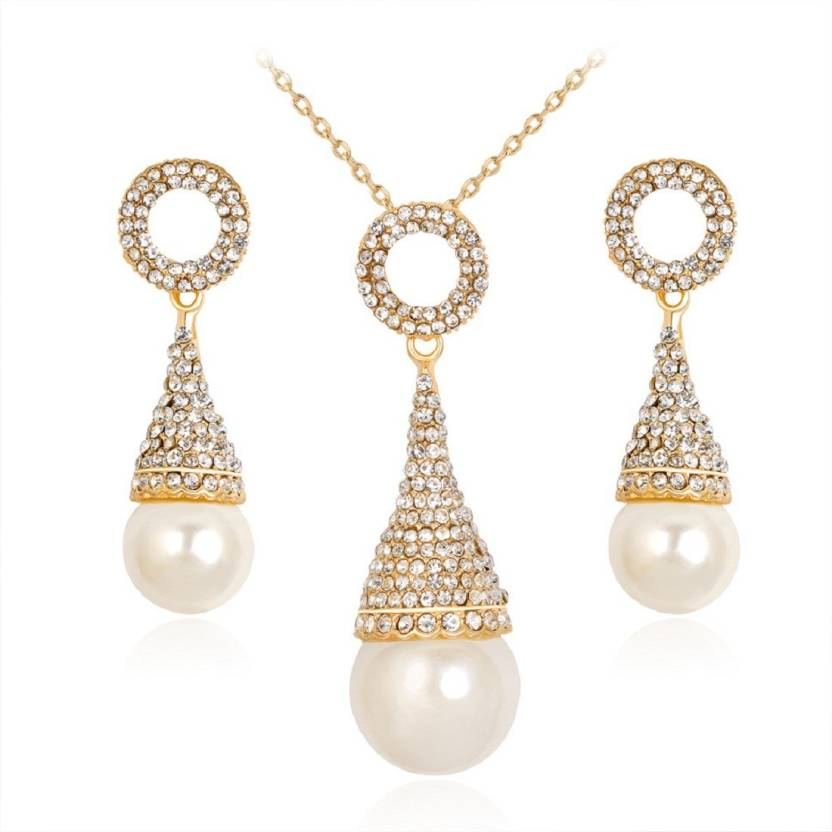 Fabfashion Crystal Ice Cream Shape Pearl Necklace And Earrings Set For Women S Brooch