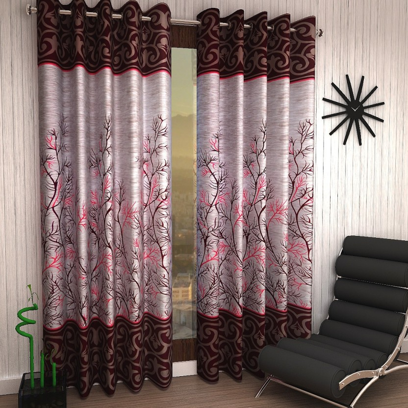 home sizzler 153 cm (5 ft) polyester window curtain (pack of 2home sizzler 153 cm (5 ft) polyester window curtain (pack of 2) (floral, maroon)
