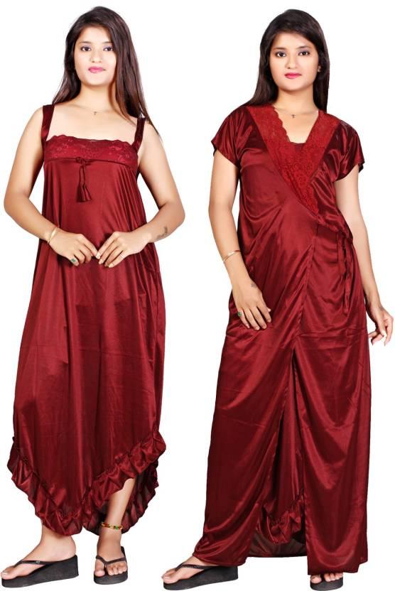 156b68e382 trundz Women Nighty with Robe - Buy trundz Women Nighty with Robe ...