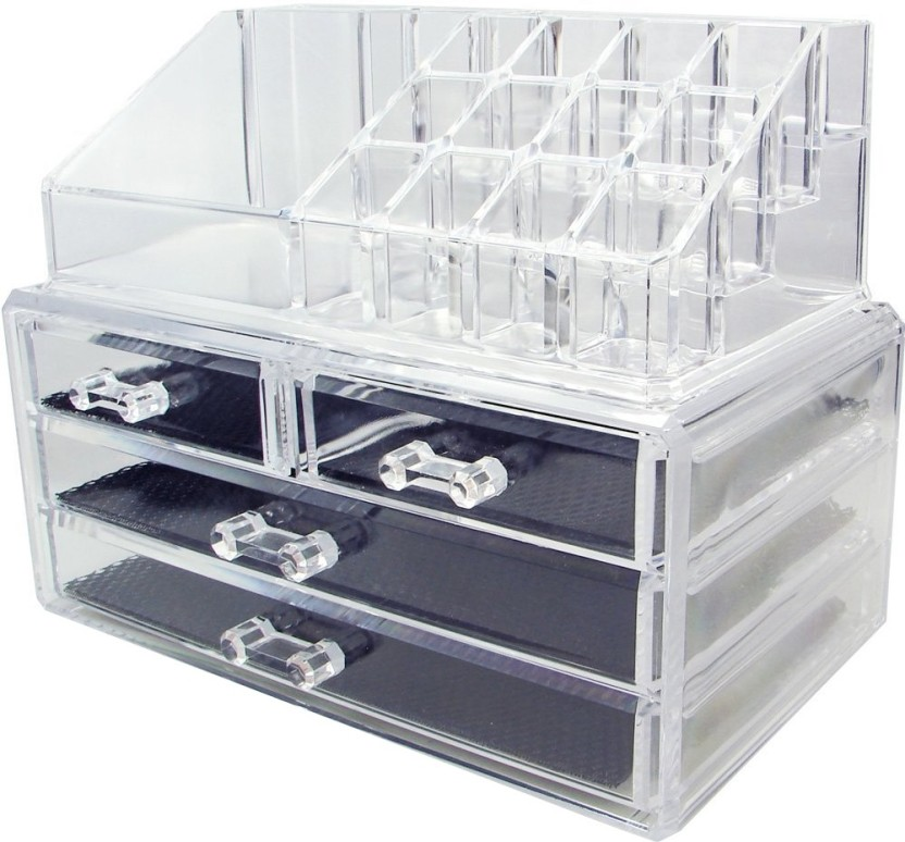 Beau Trendy Cosmetic Jewellery Makeup Storage Box Kit With 4 Drawers Clear  Acrylic Stand And Organizer Makeup