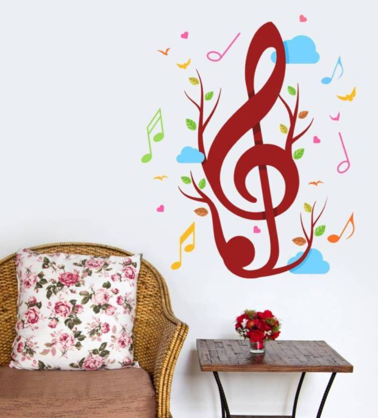 fantaboy musical note print wall decal/sticker (62 x 42 cm) price in