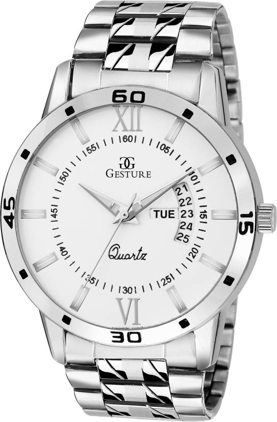 Gesture 1202- White Day And Date Chain Watch - For Men