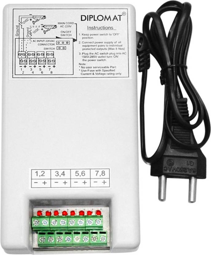 Elove 5 Amp (12VDC) 8 Channel Power Adapter Supply ( SMPS ) for CCTV ...