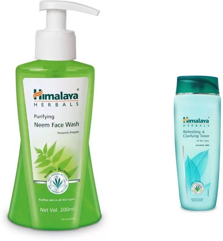Himalaya neem face wash, refreshing and clarifying toner