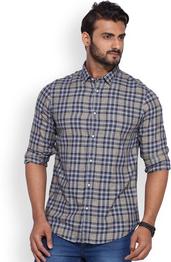 f717eaf731e9 ARROW BLUE JEANS CO. Men's Checkered Casual Grey Shirt - Buy Lt. Brown ARROW  BLUE JEANS CO. Men's Checkered Casual Grey Shirt Online at Best Prices in  India ...