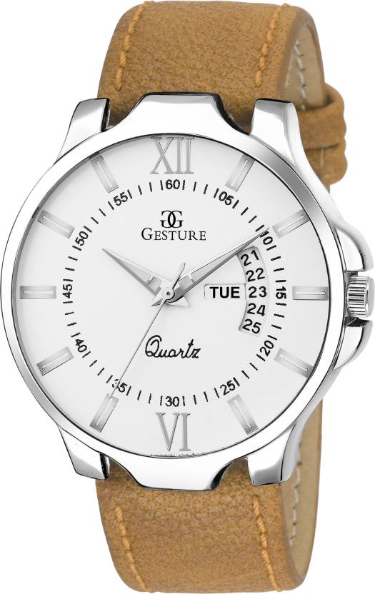 Gesture 1100- Silver Day And Date Strap Watch - For Men