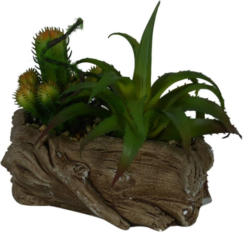 d7c9116a217a Scrafts Green Cactus Log Shape Ceramic Base artificial dry faux flowers  arrangement for home