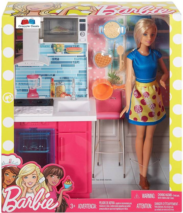 Grapple Deals Barbie Doll Kitchen Play Set With Kitchen Station And