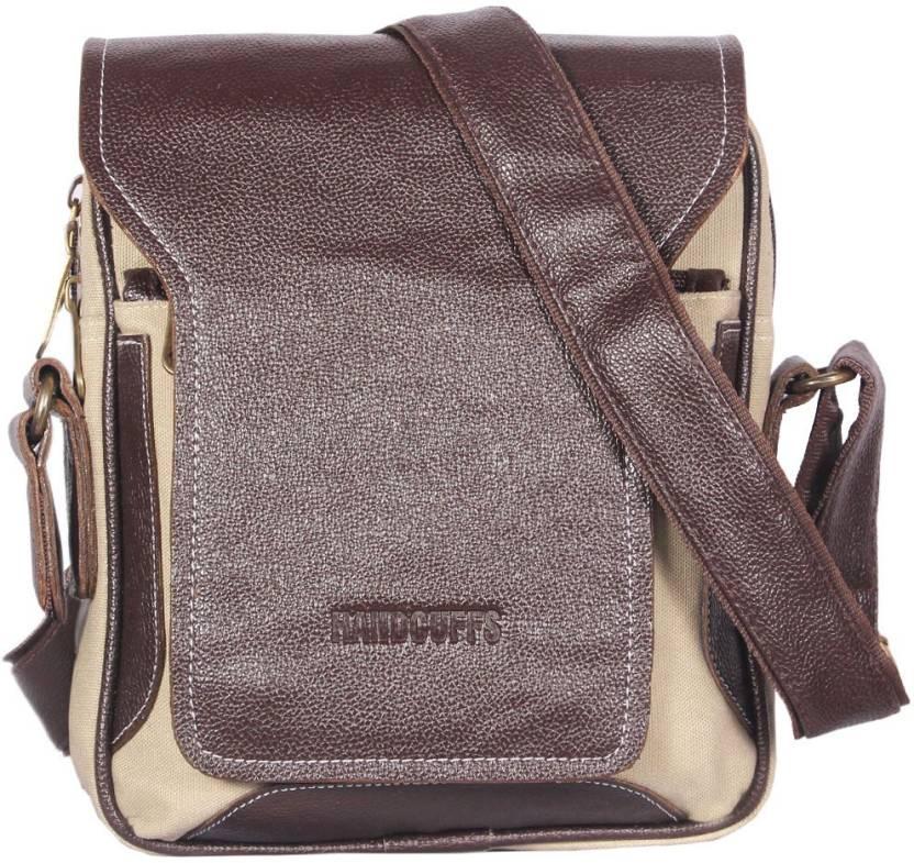 HANDCUFFS Stylish Side Sling Bag Shoulder Bag Leather Bag 11 Inch For Men s   Gents(BFSLNG24) Waterproof Sling Bag (Brown d7bc74d25c28