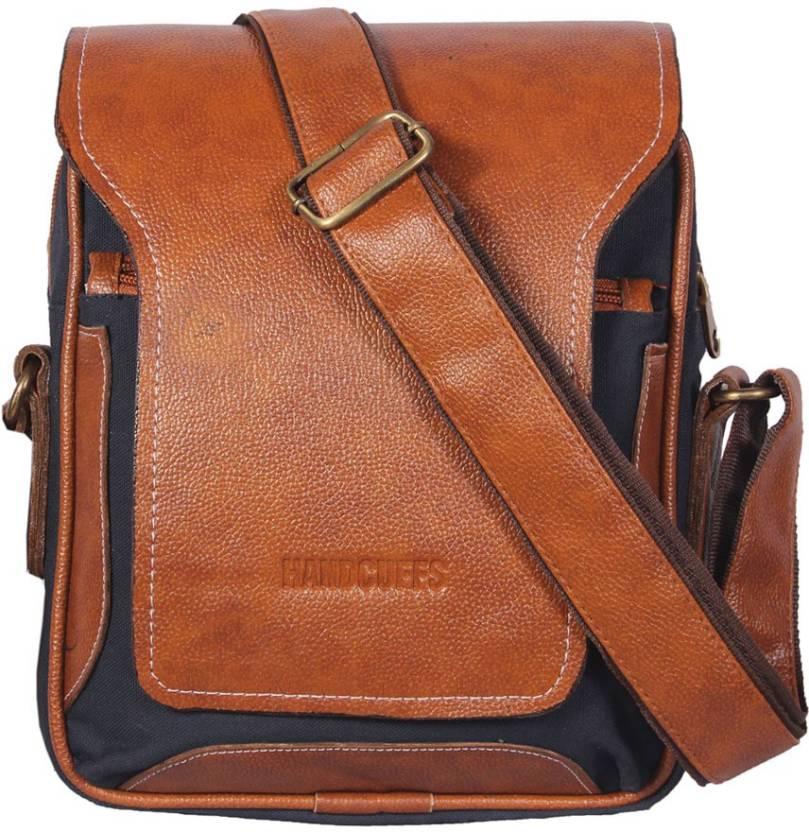 HANDCUFFS stylish side sling bag shoulder bag leather bag 12 inch for men s   gents(BFSLNG26) Waterproof Sling Bag (Beige 69d9667a7ce1