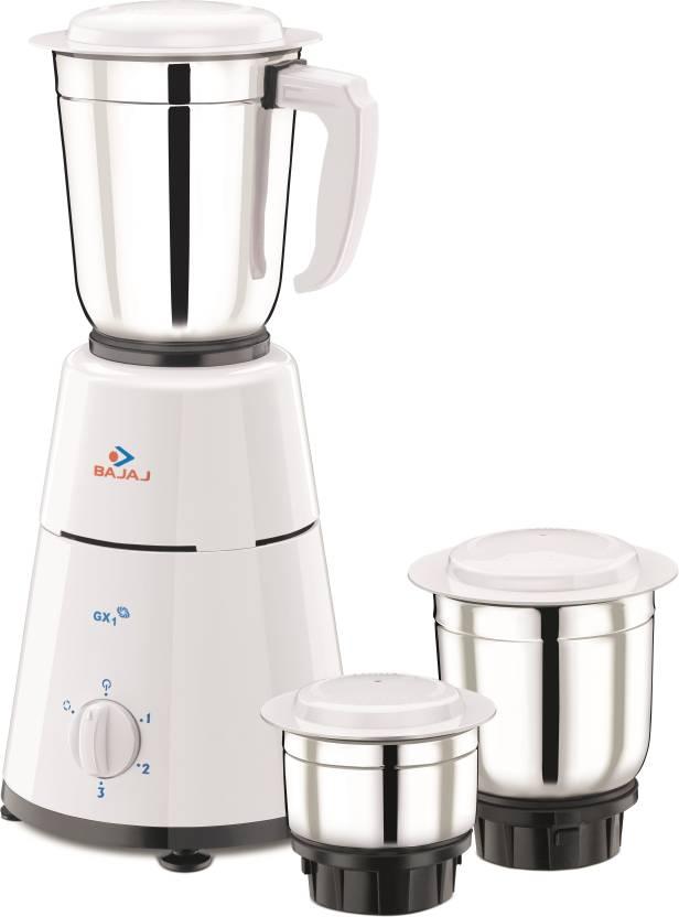 Bajaj GX1 500 W Mixer Grinder White 3 Jars