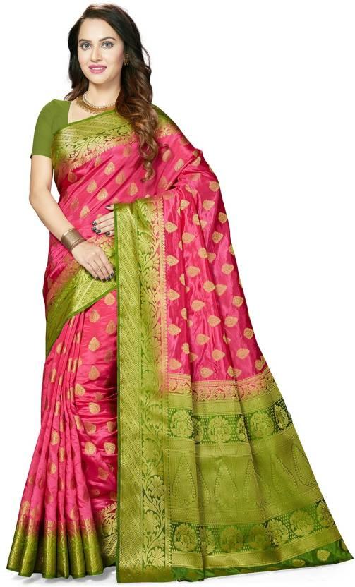 9a12a204871 Buy Ishin Woven Bollywood Art Silk Multicolor Sarees Online   Best ...