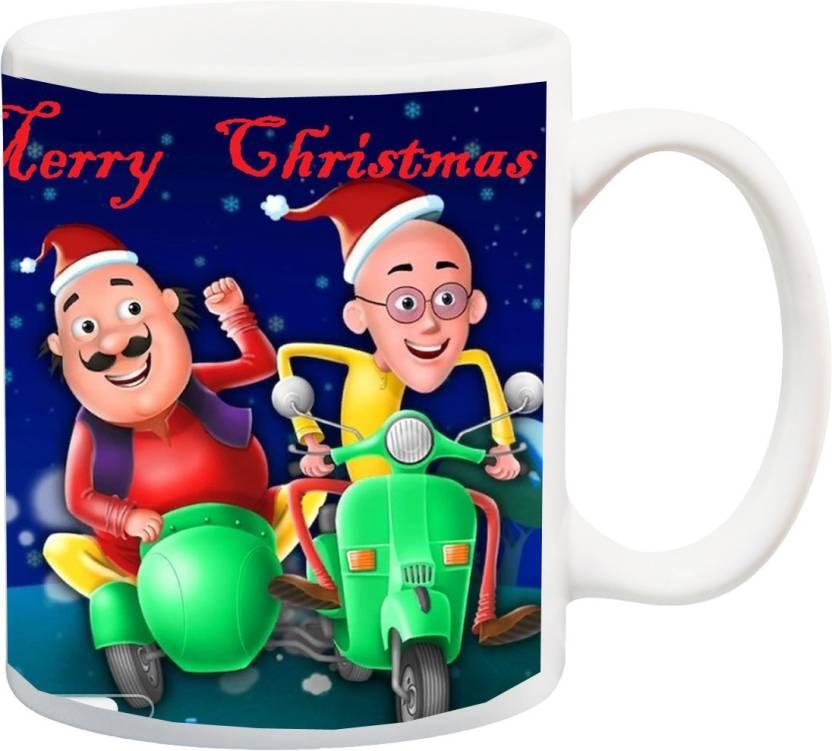 Stylotrendz Motu Aur Patlu Ki Jodi Wishing Merry Christmas Ceramic
