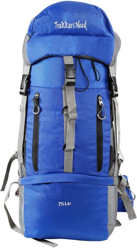 7934b382c370 TREKKERS NEED Trekking Bag Rucksack SPORTS BAG Hiking Bag75 Ltr Spartan  (BLUE) Rucksack - 75 L (Blue)