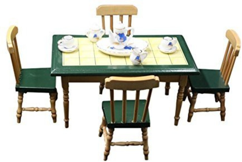 Bestlee 1:12 Classic Kitchen Furniture Doll House Wooden Dining Table And  Chairs Miniature Set