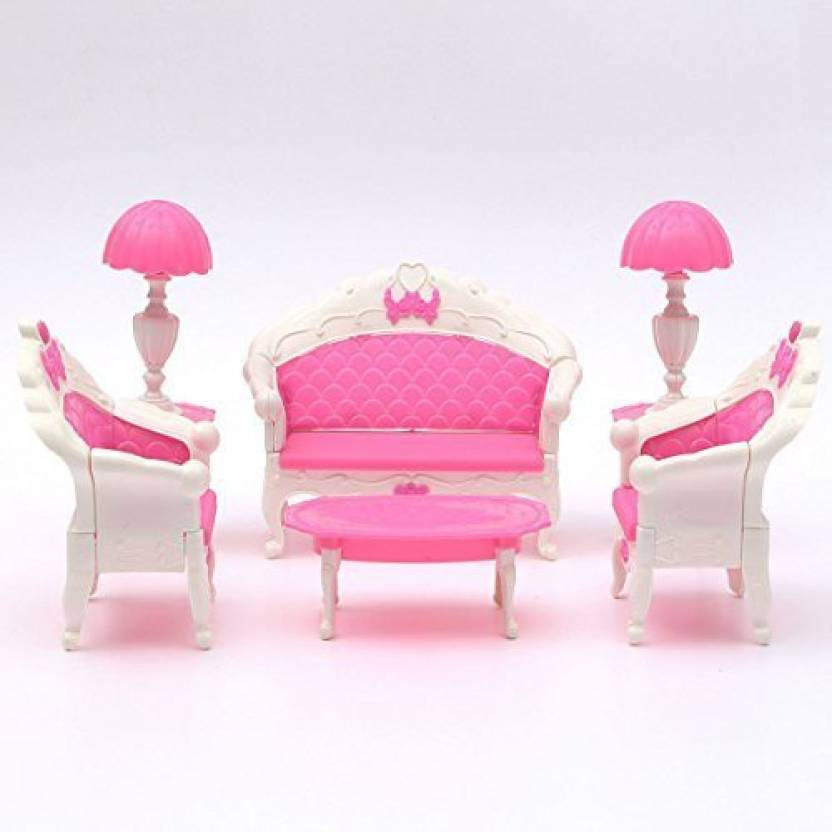 Dllhouse Furnitures Cute Mini Dollhouse Furniture Living Room Parlour Sofa Set Barbie Accessories Pink Lovely Dollhouse Barbie For Child 1 Sets Of 6 ...